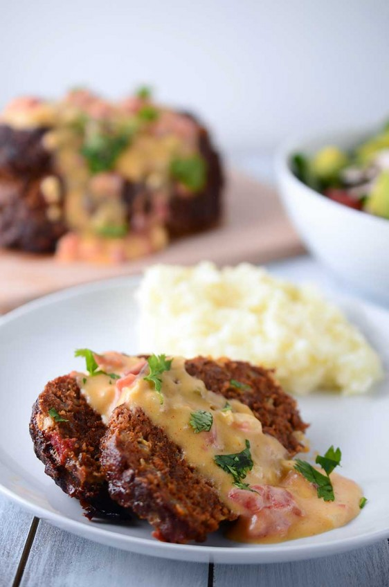Chorizo Meatloaf with Chipotle Queso Sauce