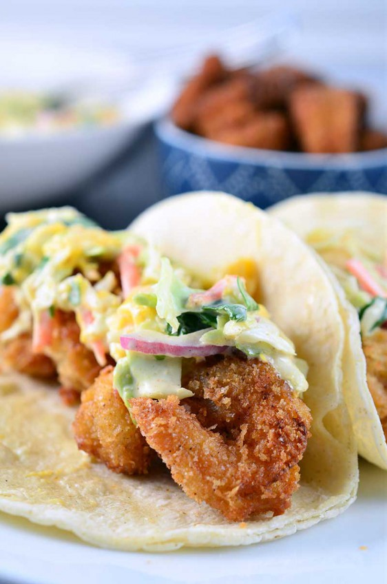 Crispy Shrimp Tacos with Mango Slaw