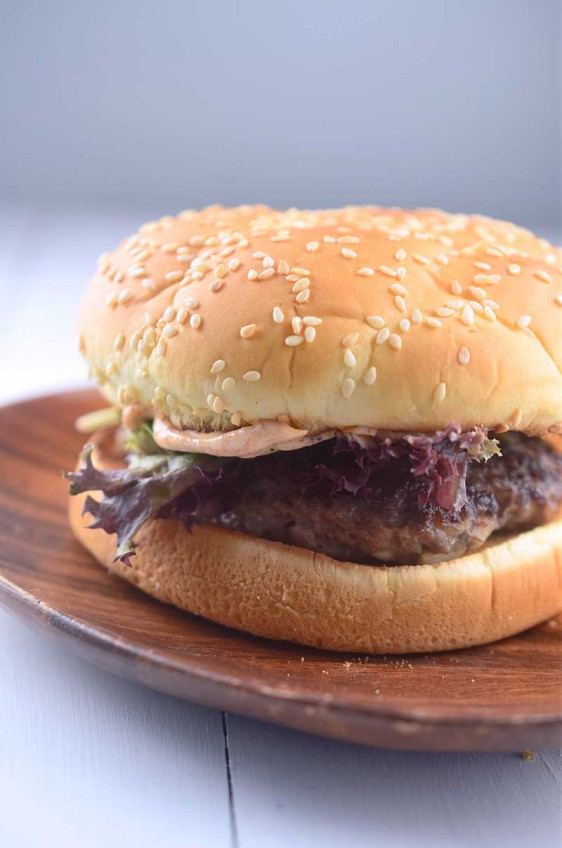 Lamb Burger with Harissa Mayo