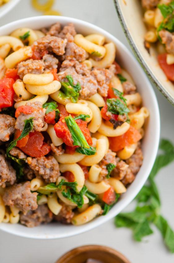 Macaroni and Tomatoes with Sausage and Greens