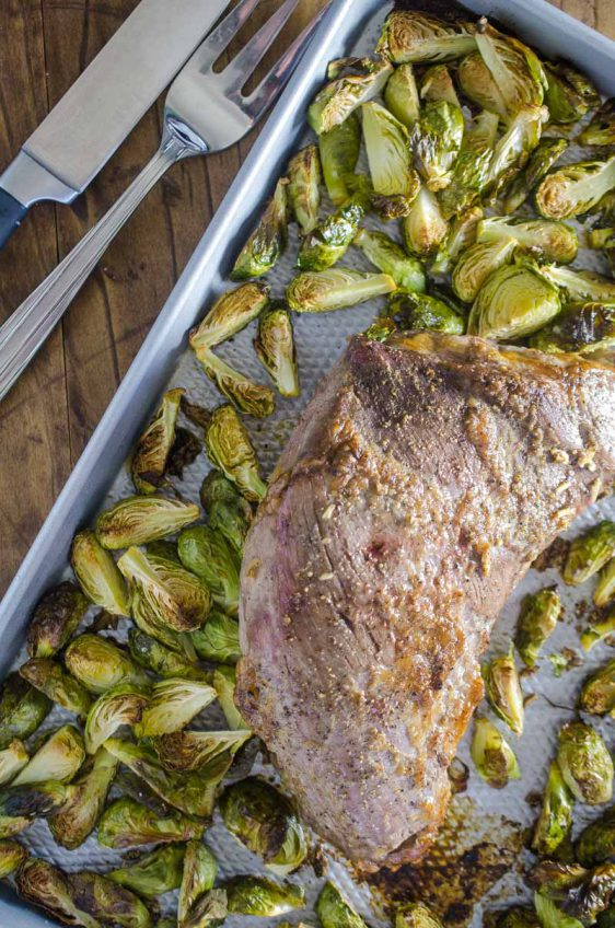 One Pan Roasted Beef Tri-Tip & Brussels Sprouts