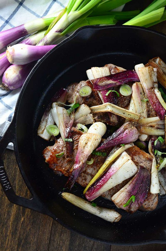 Seared Steak with Balsamic Red Spring Onions