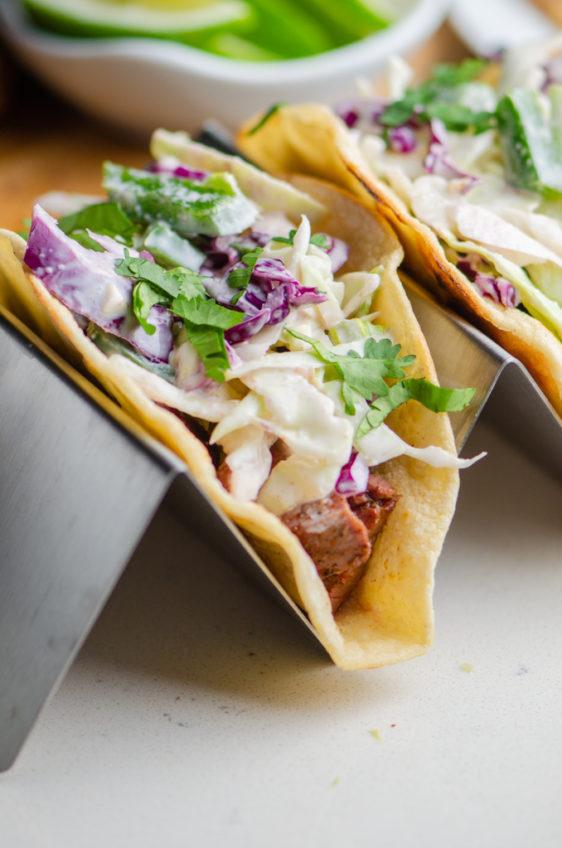 Skirt Steak Tacos with Jalapeno Slaw