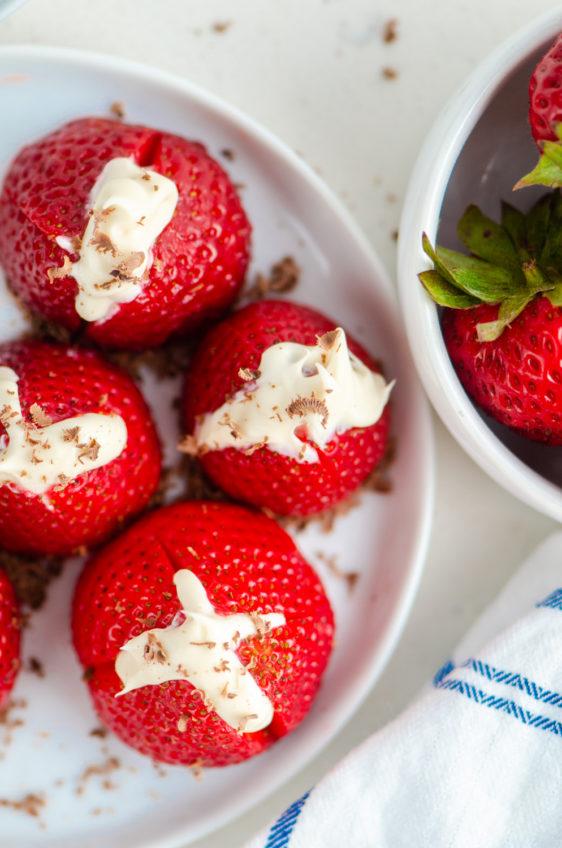 Boozy Stuffed Strawberries