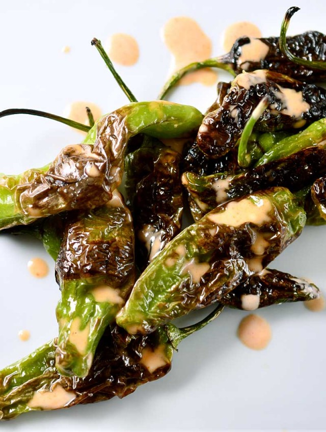 Blistered Shishito Peppers with Sriracha Cream Sauce
