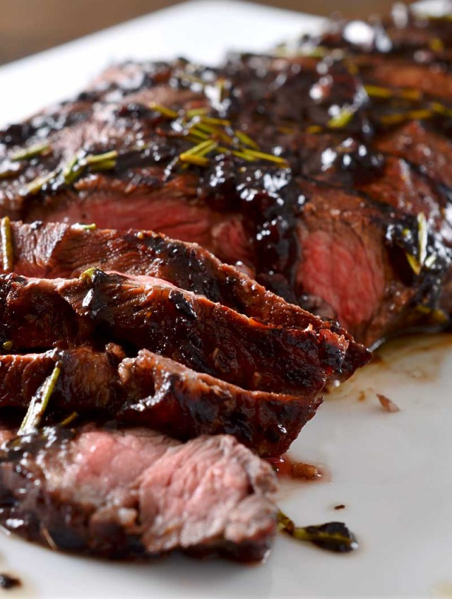 Grilled Balsamic and Rosemary Flat Iron Steak