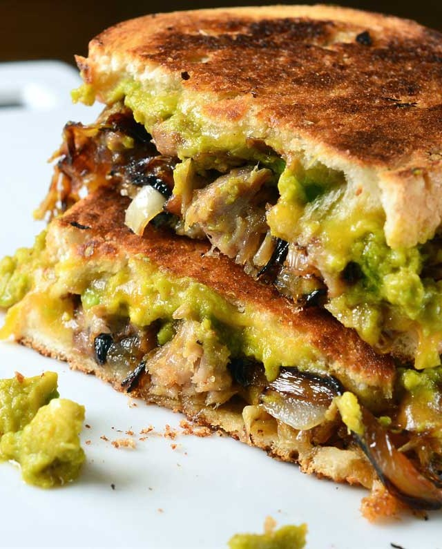 Pulled Pork and Sriracha Guacamole Grilled Cheese