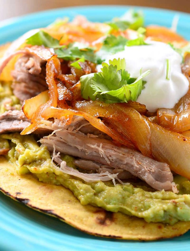 Pulled Pork Tostada with Chipotle Caramelized Onions