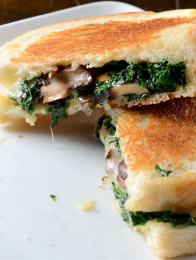 Robiola, Roasted Garlic and Kale Grilled Cheese