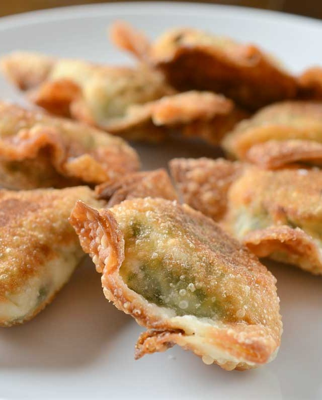 Spinach, Kale and Cream Cheese Wontons