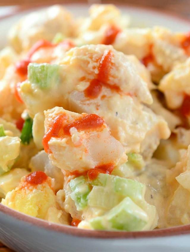 Sriracha Potato and Macaroni Salad