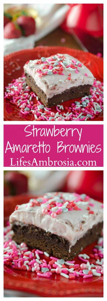 Decadent Strawberry Amaretto Brownies. A thick fudgy brownie topped with a delectable strawberry cream cheese frosting.