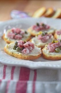 5 minute Salami Caper Crostini