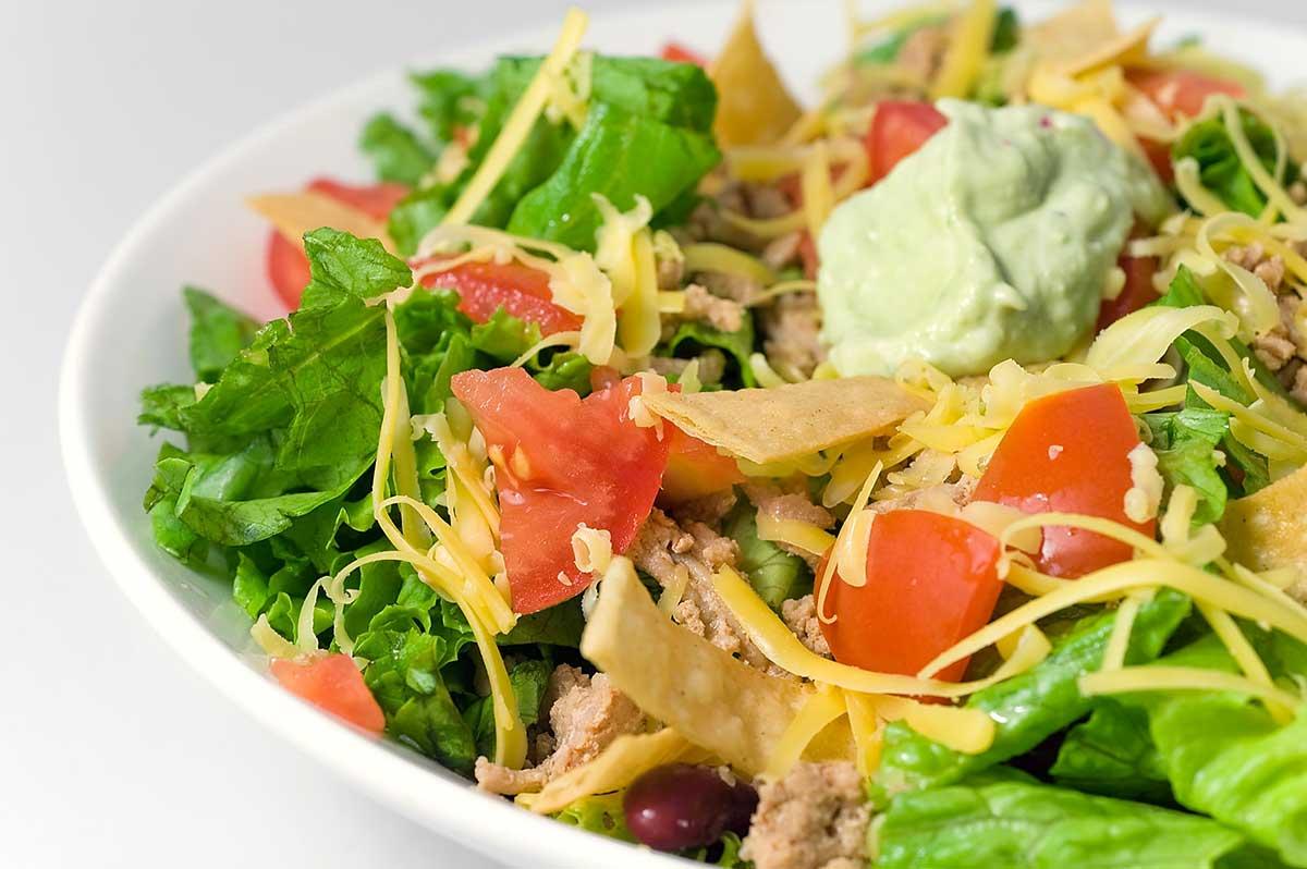 Taco Salad with Spicy Avocado Dressing