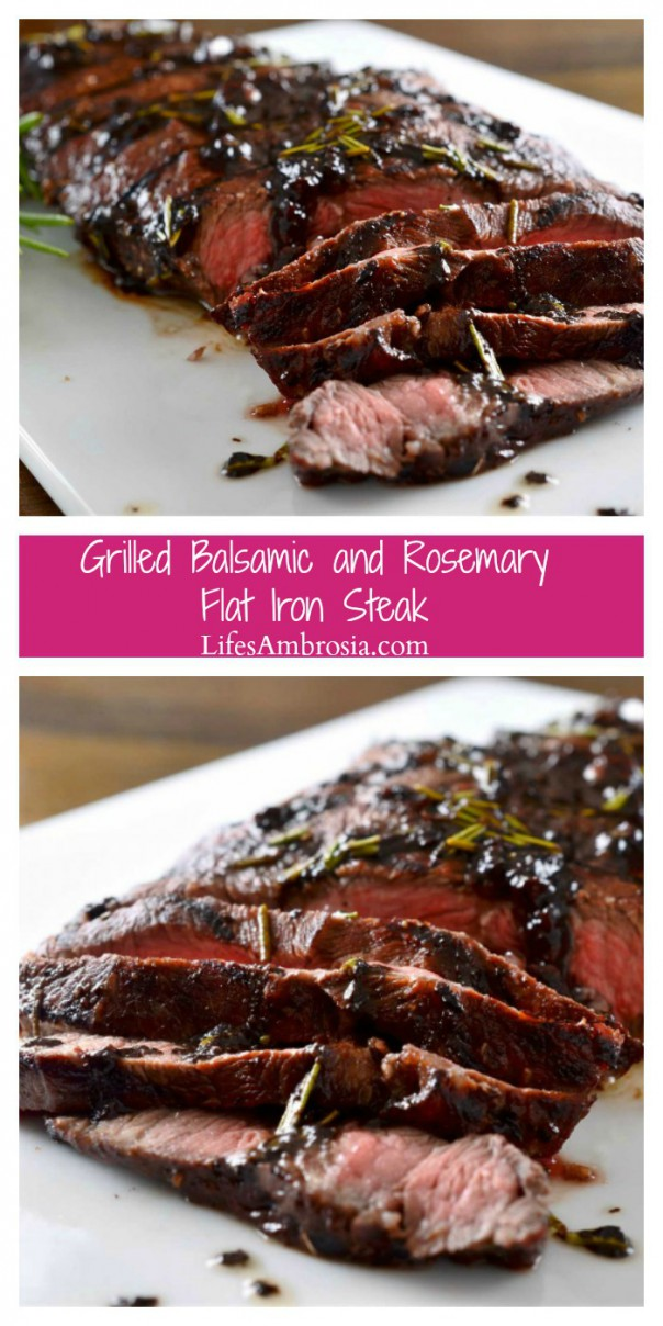 Perfectly grilled flat iron steak topped with a balsamic, red wine, rosemary and garlic reduction.