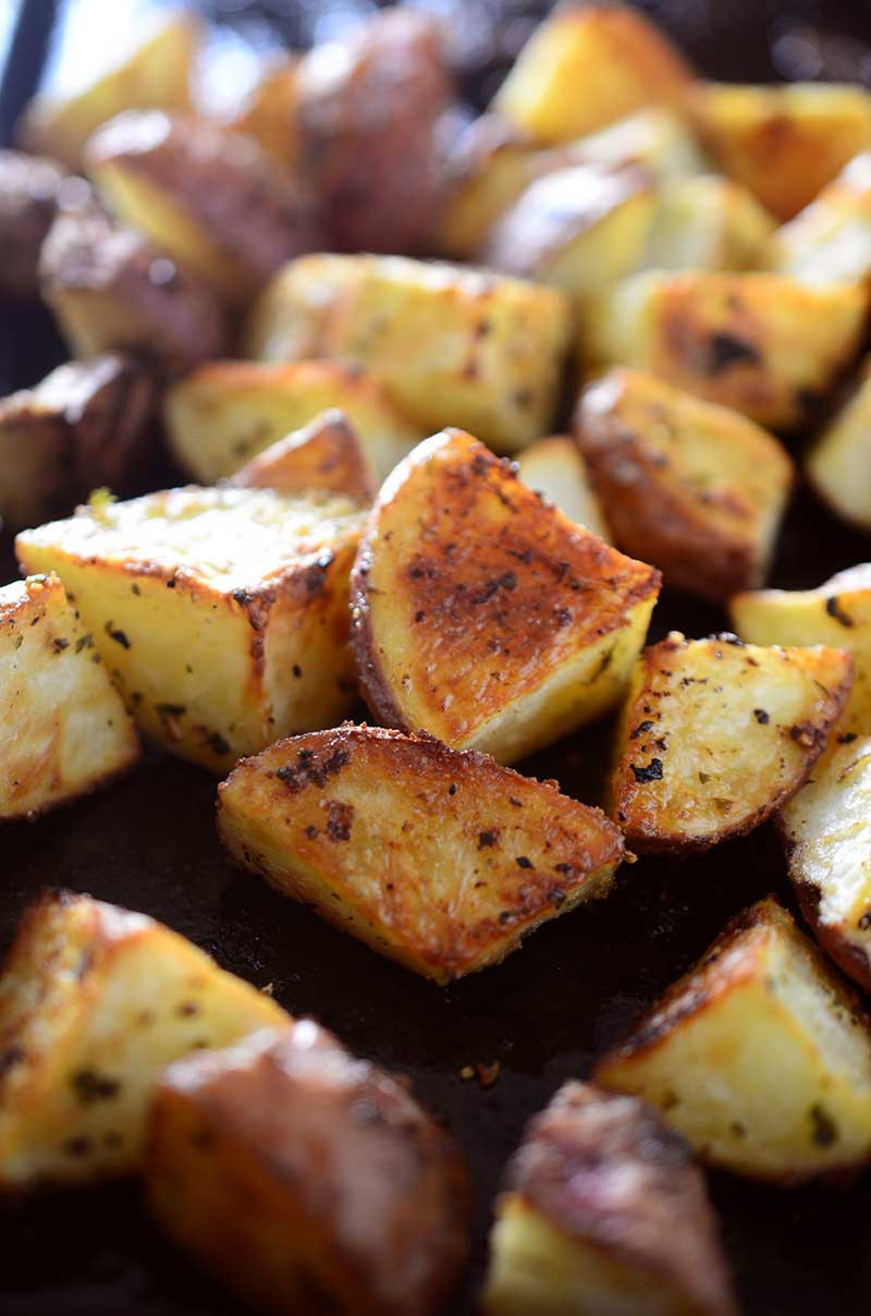 Close up of roasted red potatoes.