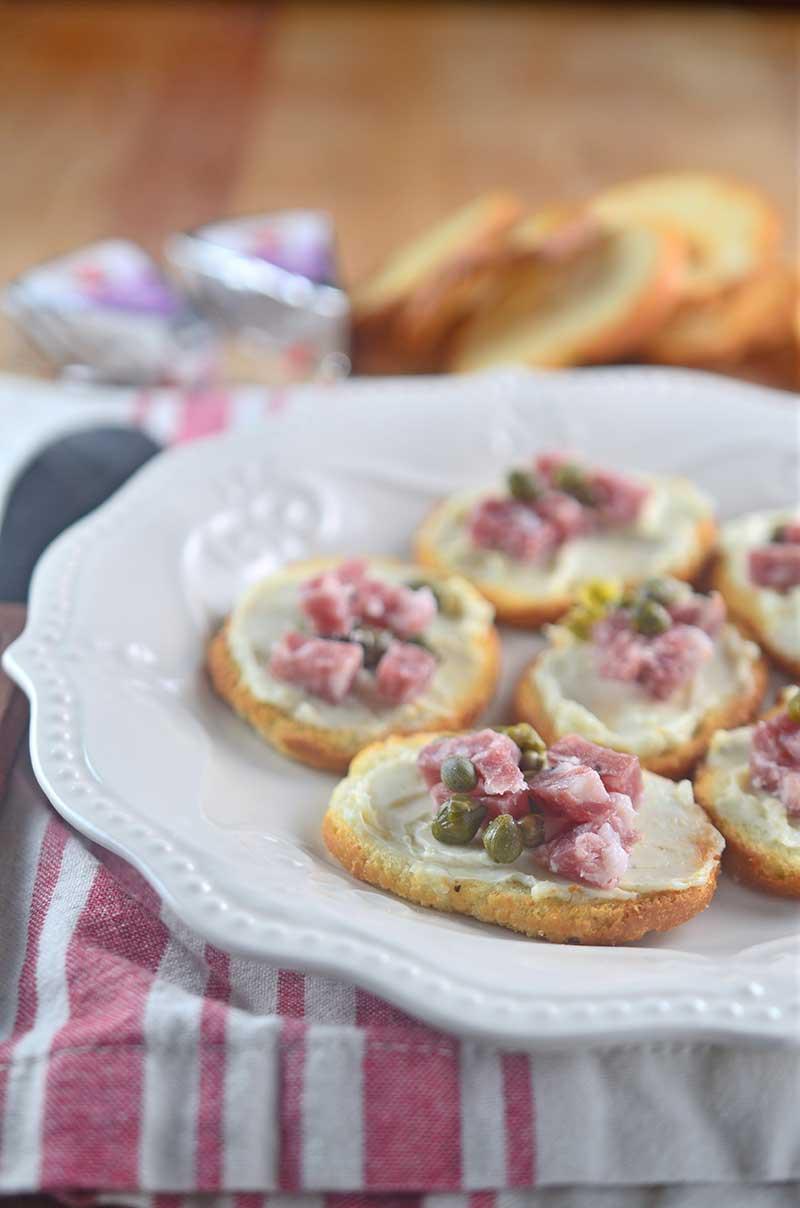 5 Minute Salami and Caper Crostini