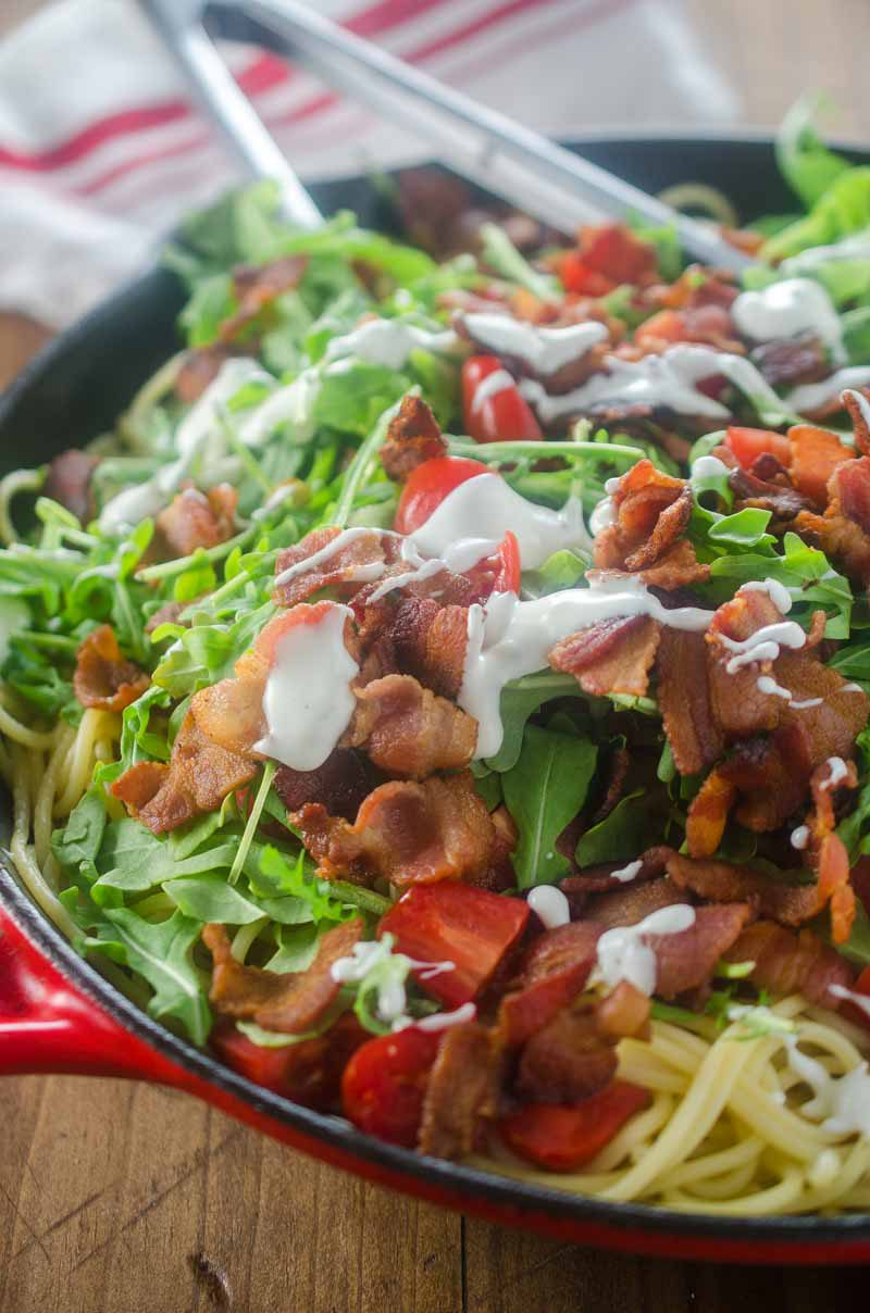 This Ranch BLT Spaghetti is full of thick cut bacon, diced tomatoes, arugula and a drizzle of ranch. It'll be a family favorite for sure!