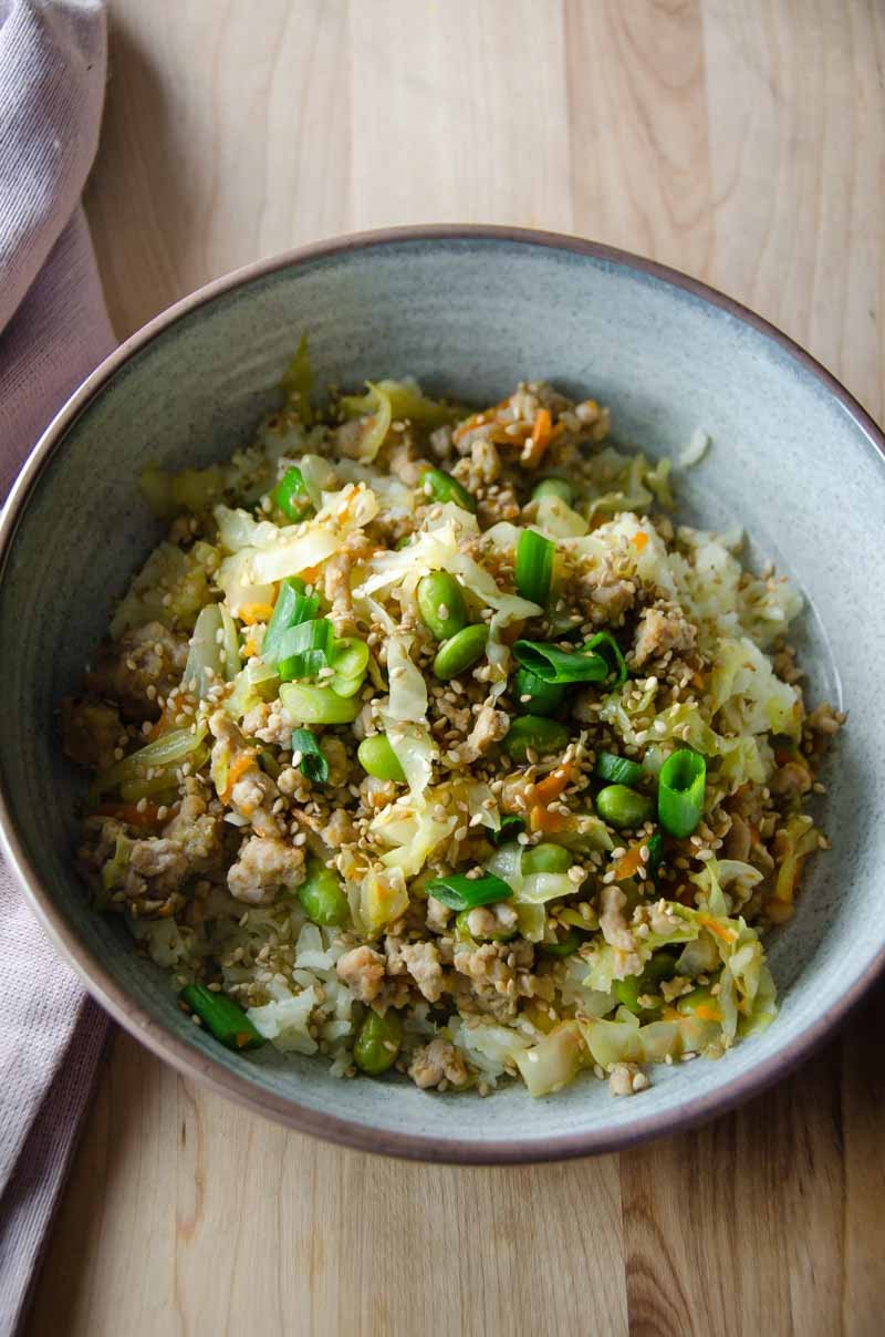 Sesame Pork Stir Fry is a quick and easy weeknight meal loaded with ground pork and veggies.
