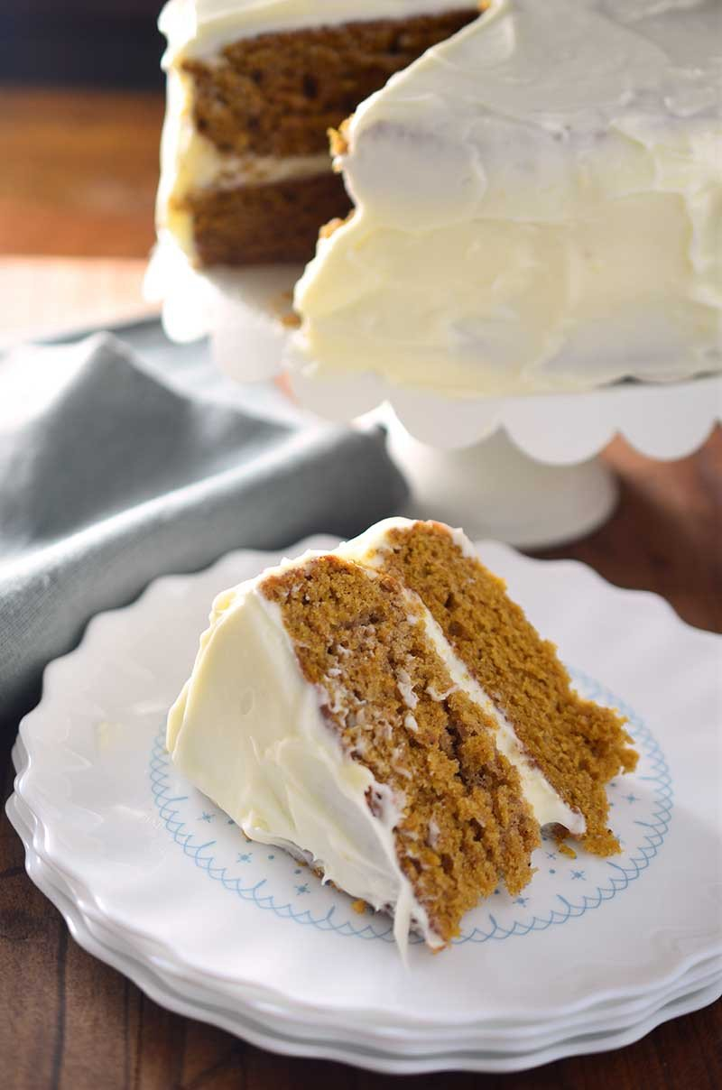 This Pumpkin Cake with Amaretto Cream Cheese Frosting is the perfect fall celebration cake!