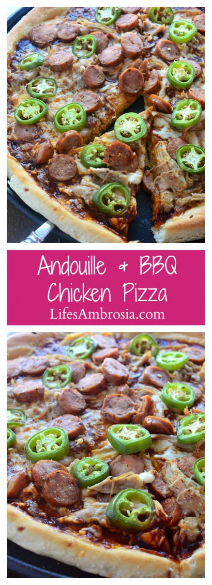 Sweet n' spicy fans will love this pizza! Andouille and BBQ Chicken Pizza is loaded with shredded chicken, andouille sausage, jalapeños and BBQ Sauce.