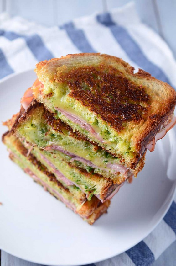 Arugula Pesto & Ham Grilled Cheese