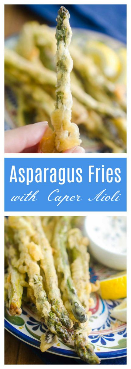 Asparagus Fries are lightly battered, fried until golden and dipped in a creamy caper aioli. They are every bit as addicting as they sound.