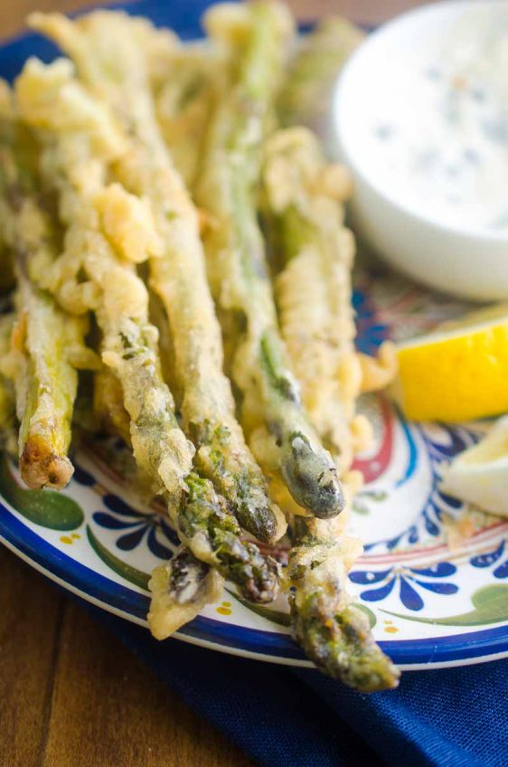 Asparagus Fries with Caper Aioli