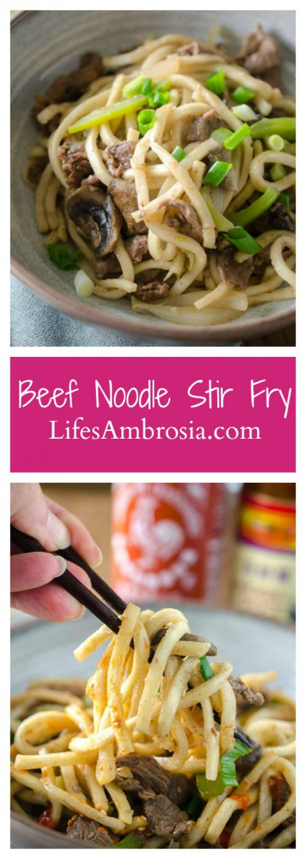 Beef noodle stir-fry is one of my favorite comfort foods. It is loaded with thinly sliced beef, peppers, mushrooms, onions and udon noodles.
