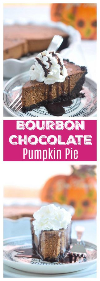 Bourbon Chocolate Pumpkin Pie is a chocolate lover's twist on traditional pumpkin pie. This easy pumpkin pie recipe will make any chocolate lover happy.