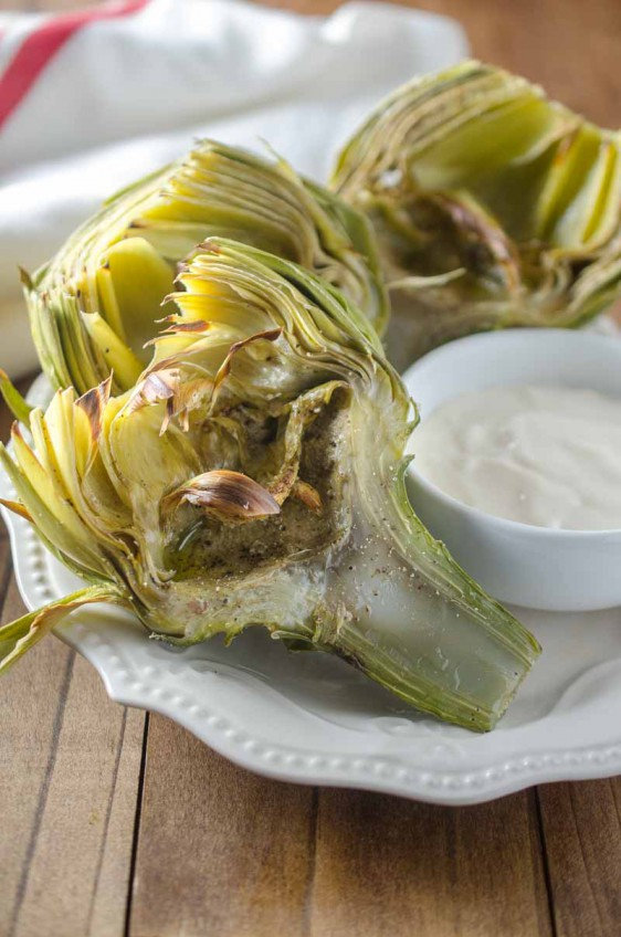 Broiled Artichokes with Malt Vinegar Aioli