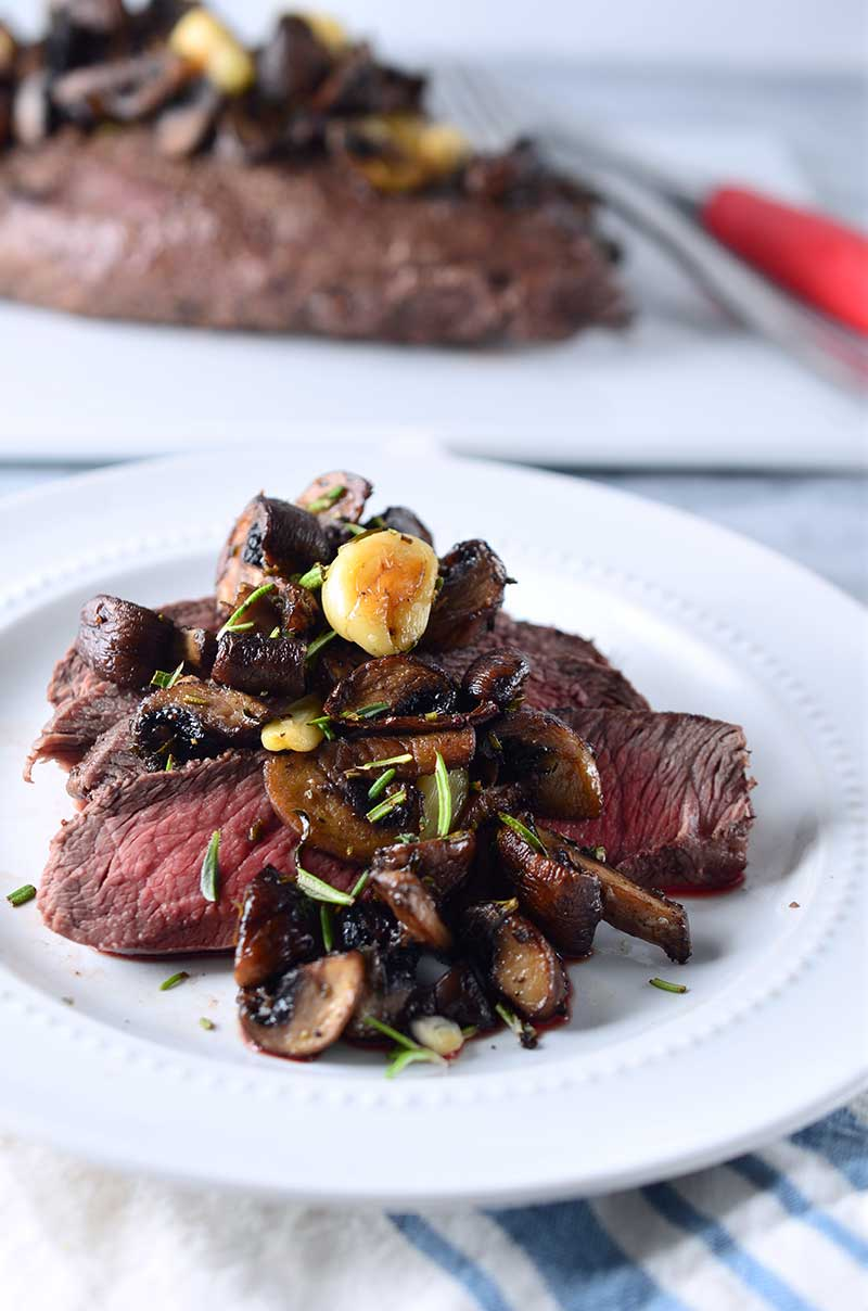 Broiled Flat Iron Steak with Herb Roasted Mushrooms