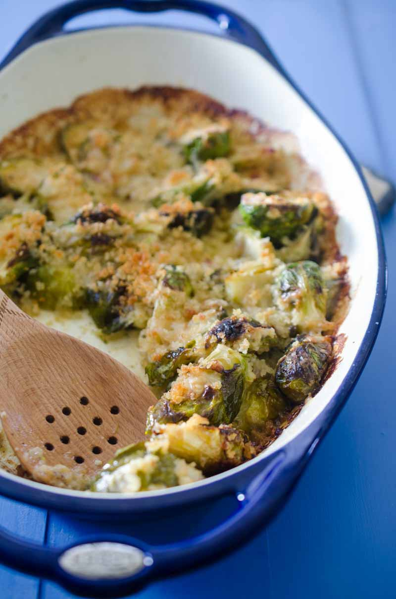 Brussels Sprouts Gratin with roasted brussels sprouts, cream, shallots, garlic and gruyere. Vegetables never tasted so good.