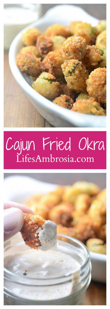 A classic southern dish, Fried Okra is crispy and addicting. A cajun dipping sauce gives it the perfect amount of kick!