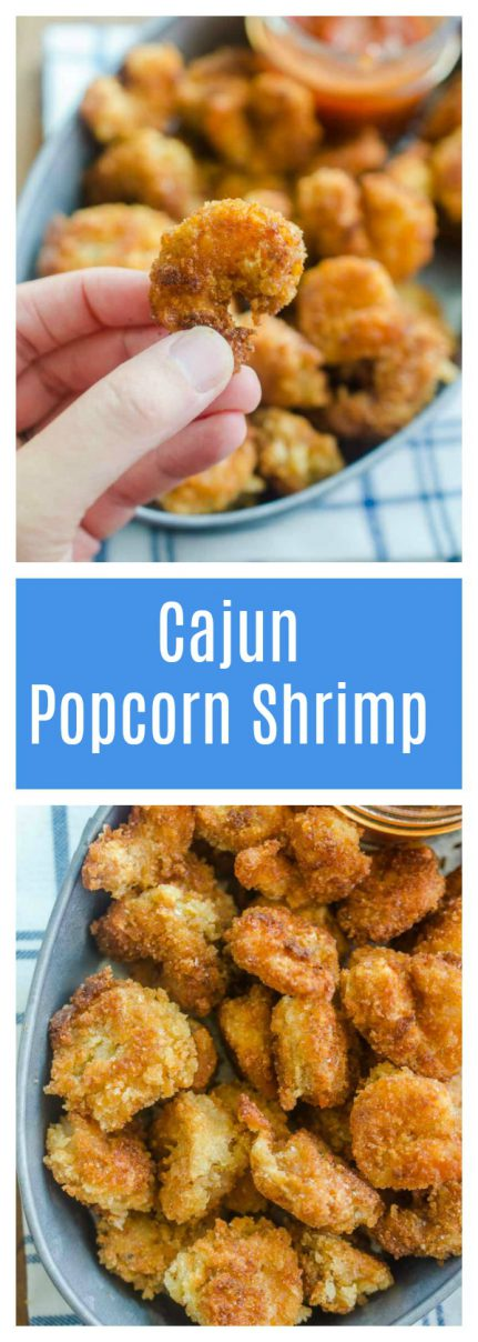 Cajun popcorn shrimp is quick, easy and oh so crispy! Sweet shrimp marinated in cajun seasoning, coated in breadcrumbs and fried until golden