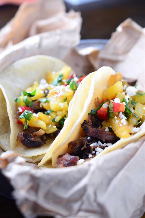Carnitas Tacos with Grilled Pineapple Salsa