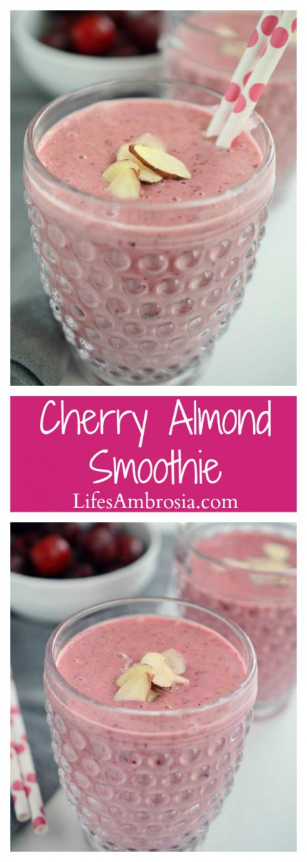 This Cherry Almond Smoothie loaded with kefir, greek yogurt, sweet cherries and almond butter is a great way to start the day!