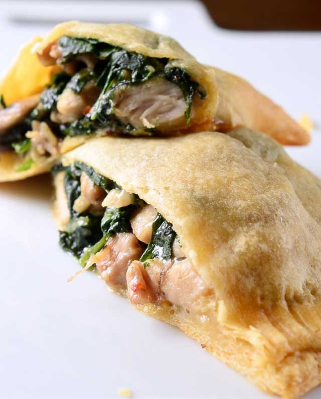 Chicken, Spinach and Mushroom Crescent Pockets