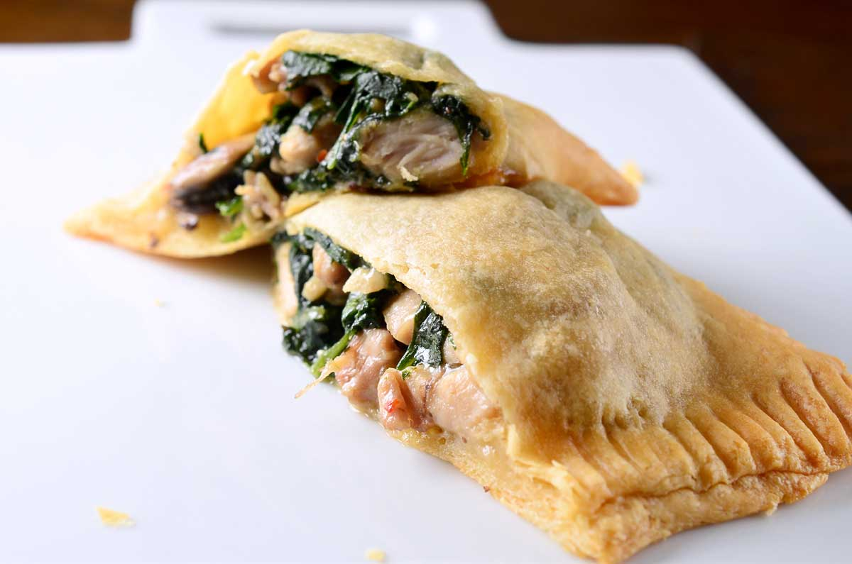 Chicken, Spinach and Mushroom Crescent Pockets