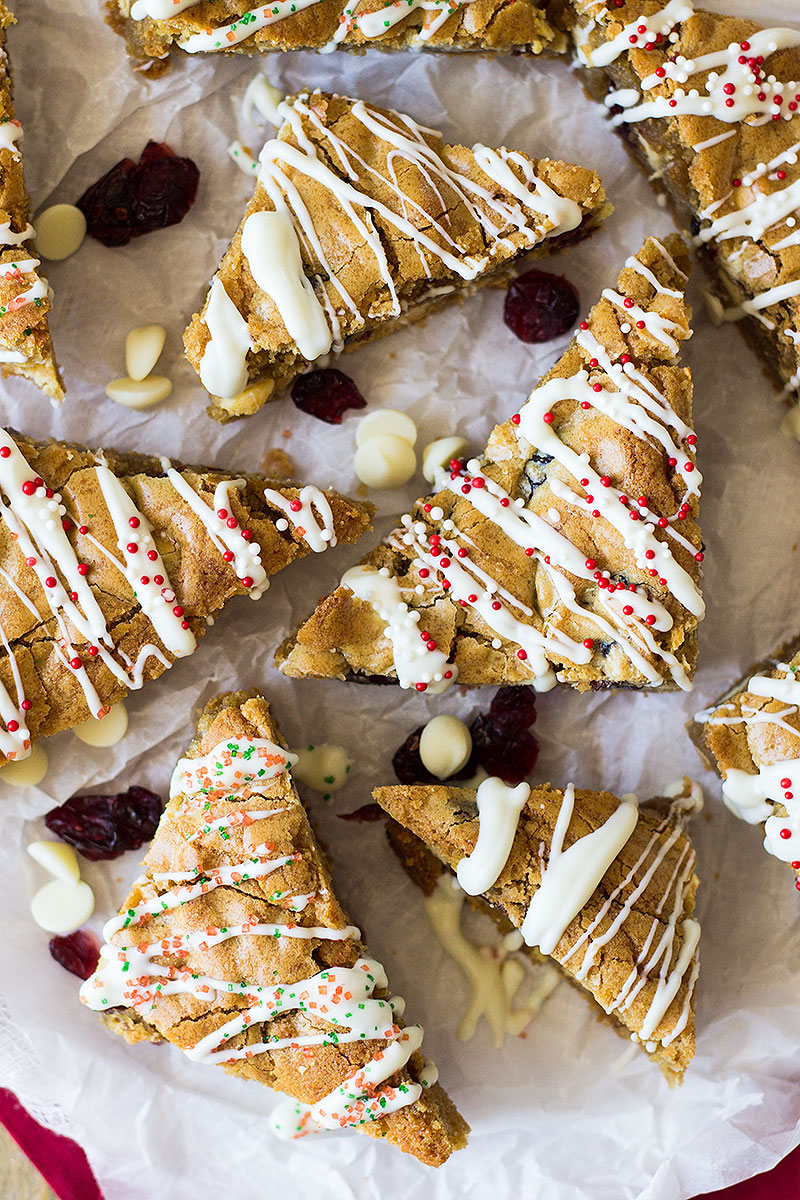 These Christmas Blondies are chewy and full of white chocolate and dried cranberries for that perfect sweet and tart combo!