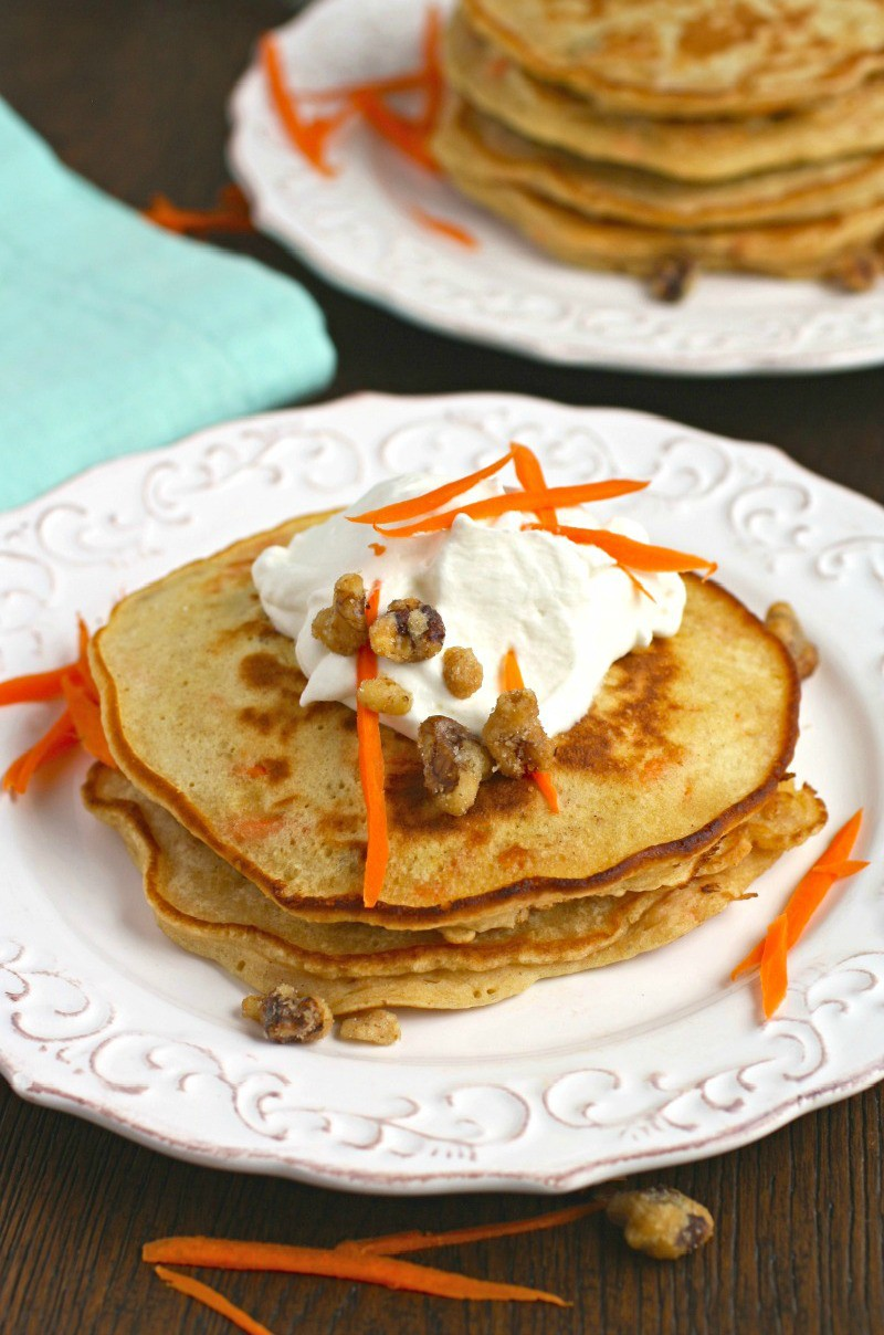Carrot Cake Pancakes with Homemade Whipped Topping surely are a treat that's not too sweet, and perfect for breakfast!