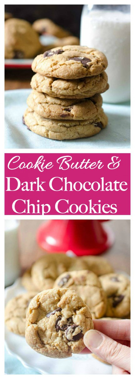 Chewy, chocolaty, Biscoff and Dark Chocolate Chip Cookies are loaded with dark chocolate chips and sweet cookie butter.