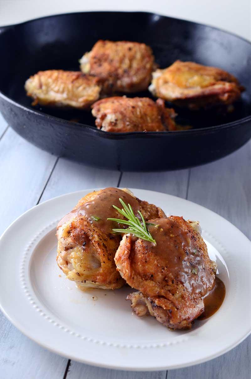 Crispy Chicken Thighs with Honey Dijon Balsamic Pan Sauce