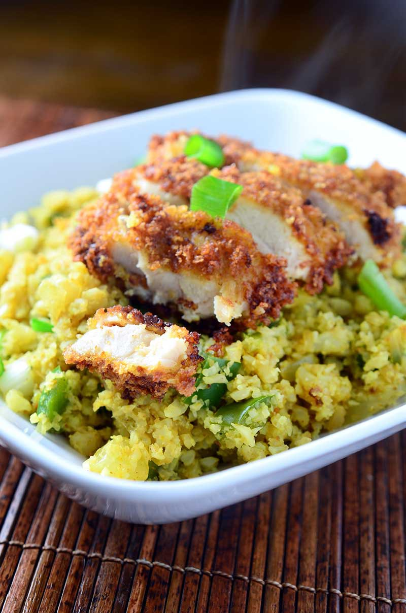 Crispy Chicken and Curried Cauliflower Rice