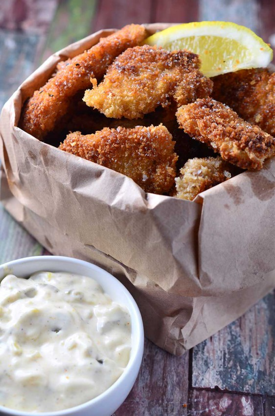Crispy Fish Nuggets with Cajun Tartar Sauce
