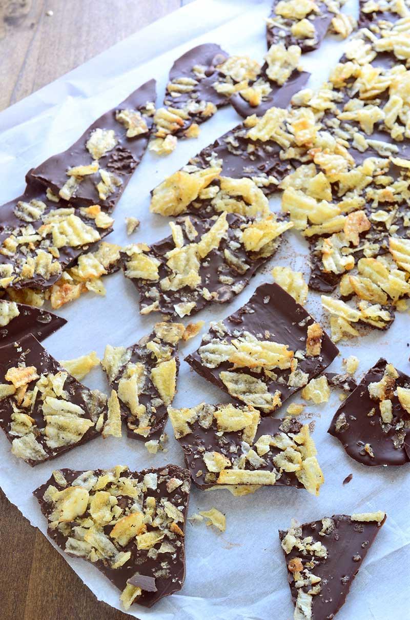 Dark Chocolate Potato Chip Bark