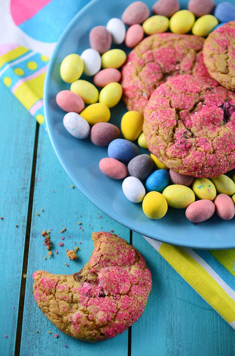 These Easter Candy Cookies are a sweet, soft and chewy way to use up your leftover Easter candy.