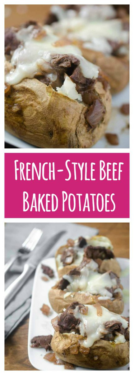 Make baked potatoes a meal with these French-Style Beef Baked Potatoes. They are loaded with thinly slice top sirloin, caramelized onion sauce and shredded Swiss cheese.