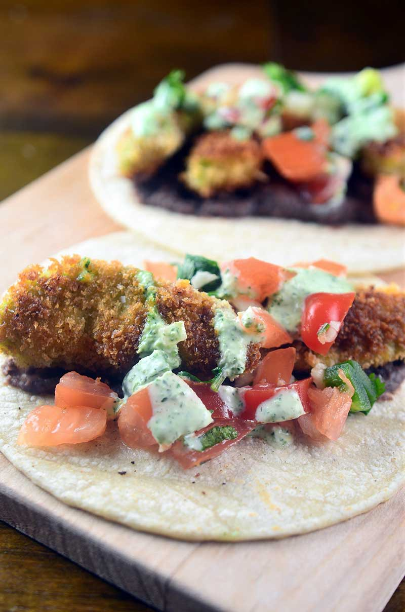 Fried Avocado Tacos with Jalapeño Cream Sauce