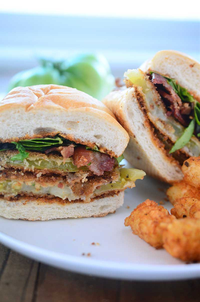 Two classics combine in this epic sandwich. This Fried Green Tomato BLT with Cajun mayo spread will be your new favorite sandwich.